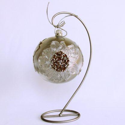 Glob craciun dantela argintiu metalizat stativ
