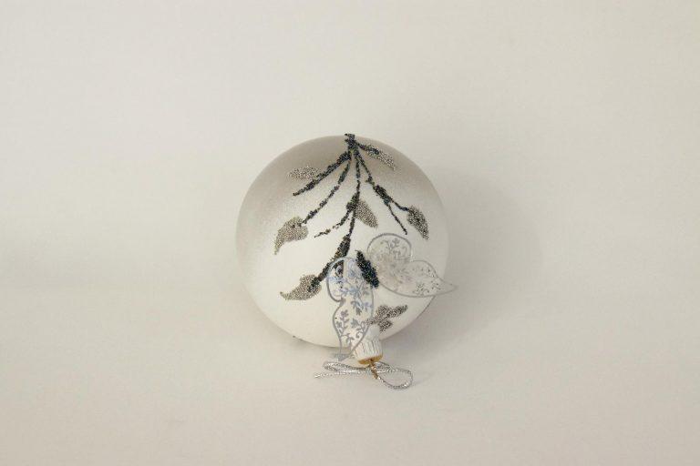 Glob sticlă Crăciun Fluture argintiu 10 cm
