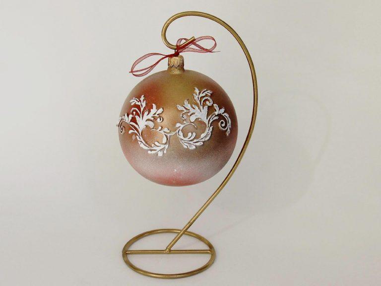 Glob craciun rosu auriu model alb