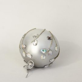 Glob craciun strasuri argintii