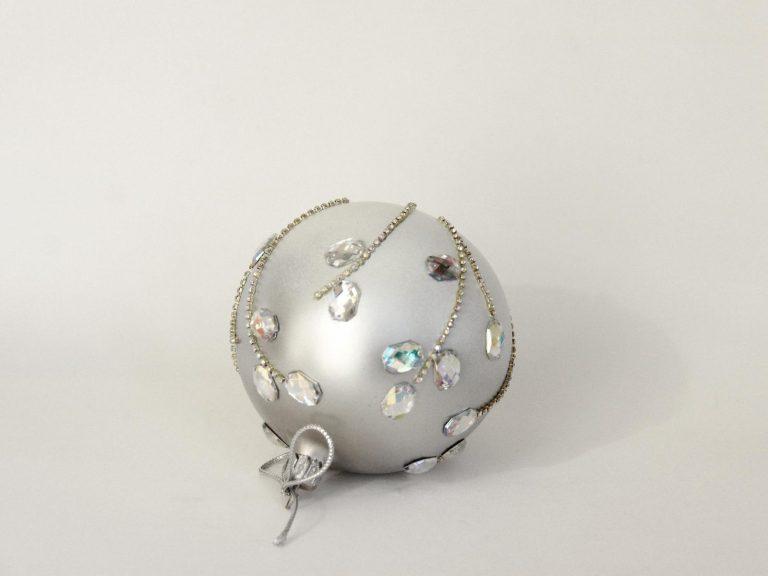 Glob argintiu sticla 10 cm