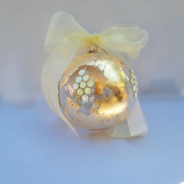 Glob Crăciun sticlă 10 cm ivoire 1