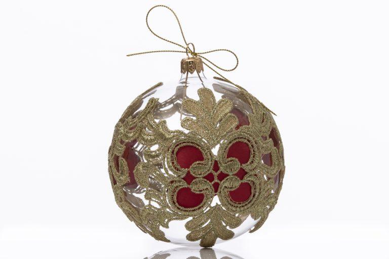 Glob sticlă Crăciun model gotic 10 cm