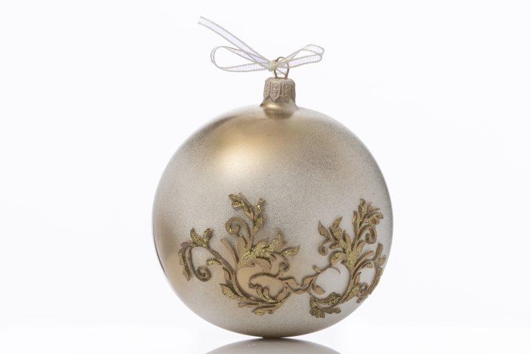 """Glob sticlă Crăciun """"Golden wings"""" 10 cm"""
