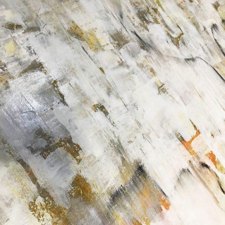 Tablou in relief alb perlat