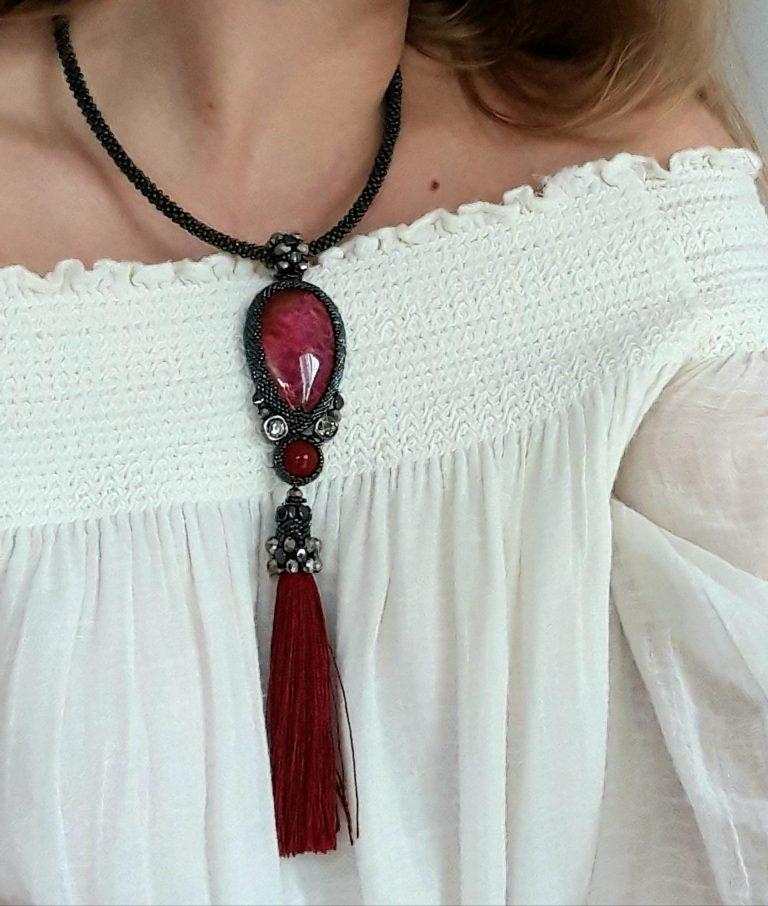Colier pandantiv 20 cm cu piatră amonit roşu 1