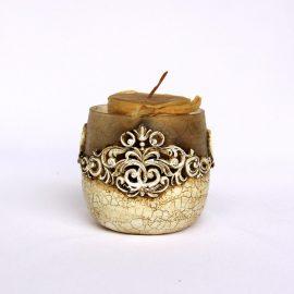Lumânare suport decorat baroque, sticlă, 8cm