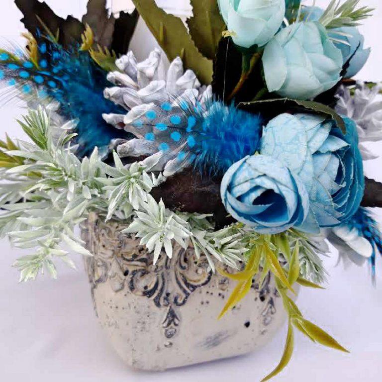 Crăciun Turquoise - Aranjament lumânare 25 cm