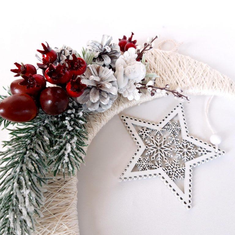 Lună decor Crăciun 24 cm în cutie detaliu