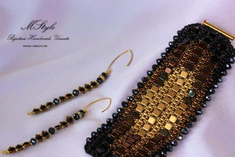 Brăţară lată negru cu auriu şi cercei lungi 5