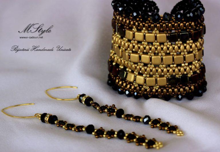 Brăţară lată negru cu auriu şi cercei lungi 6