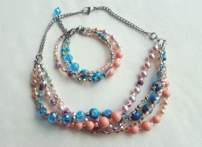 Colier si bratara multisir perle , agate, cristale 2