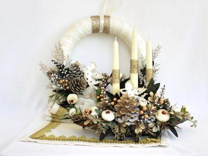 Set decor Crăciun Alb-Auriu