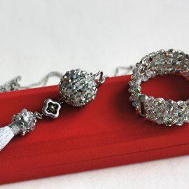 Set Colier şi Brăţară cristale curcubeu