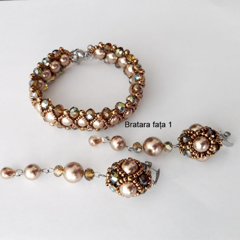 Brățară și cercei perle Swarovski și cristale
