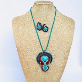 Set turquoise soutache colier şi cercei