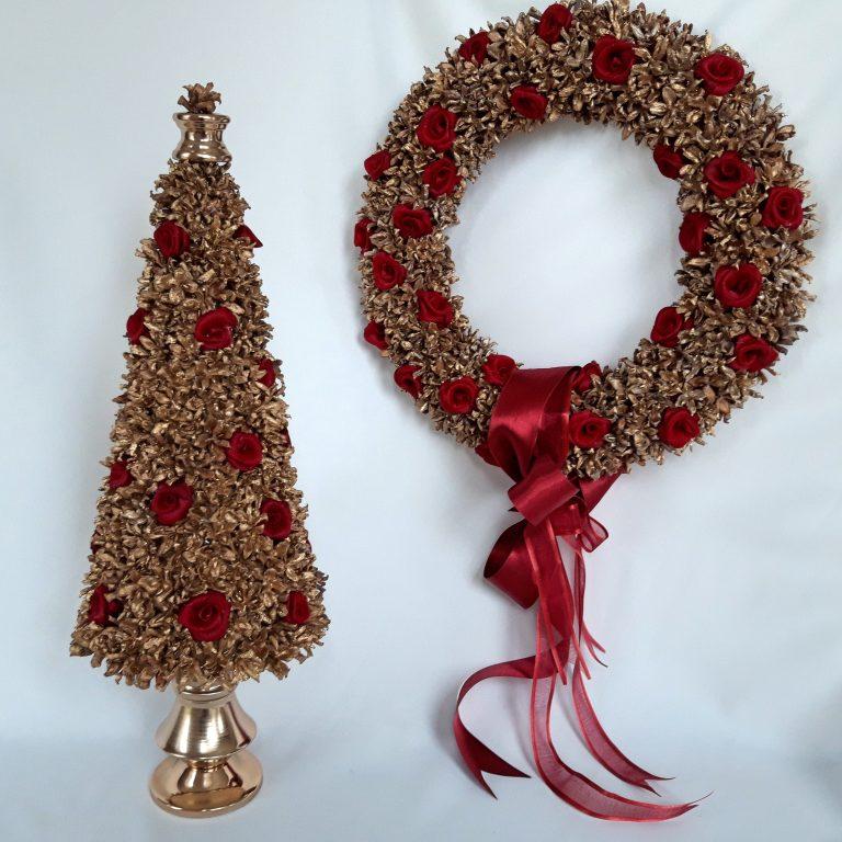 Set Crăciun Coroniţă şi brăduţ conuri tuia 43 cm