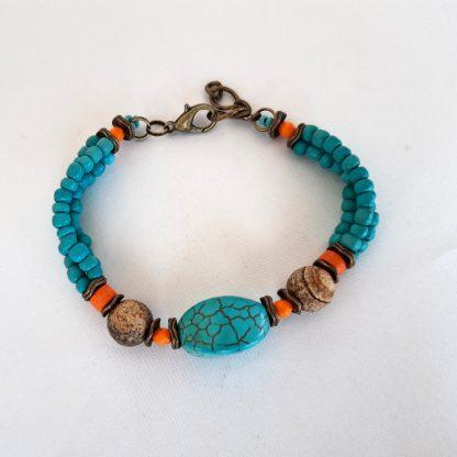 Bratara- set turquoise si jasper