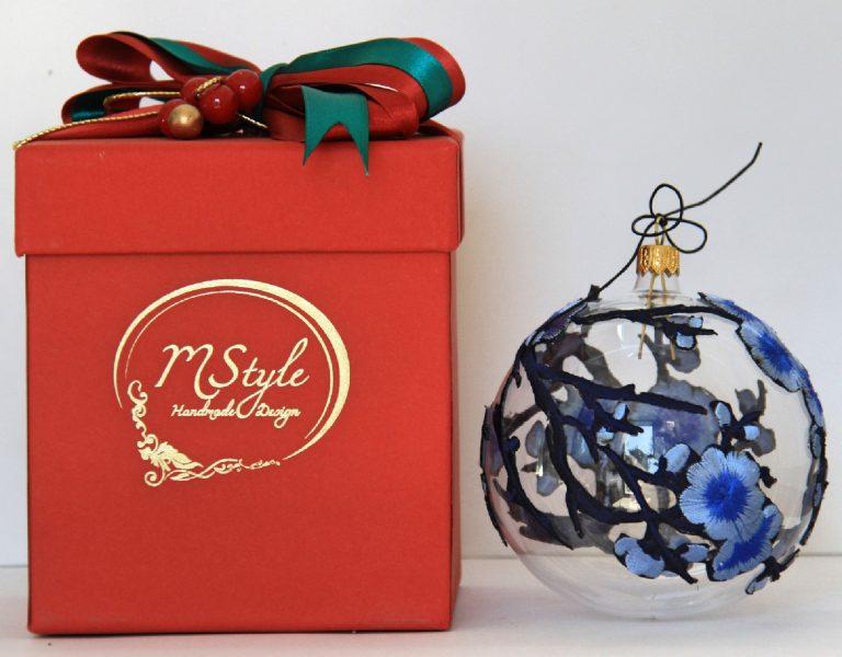 Glob Crăciun dantelă flori albastre, sticlă, 10 cm 1