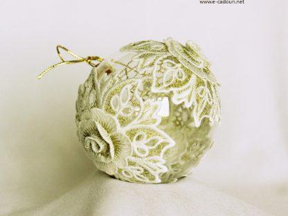 Glob Crăciun dantelă flori 3d, sticlă 10 cm