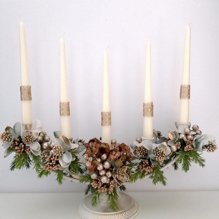 Decor masă festivă, 5 lumânări