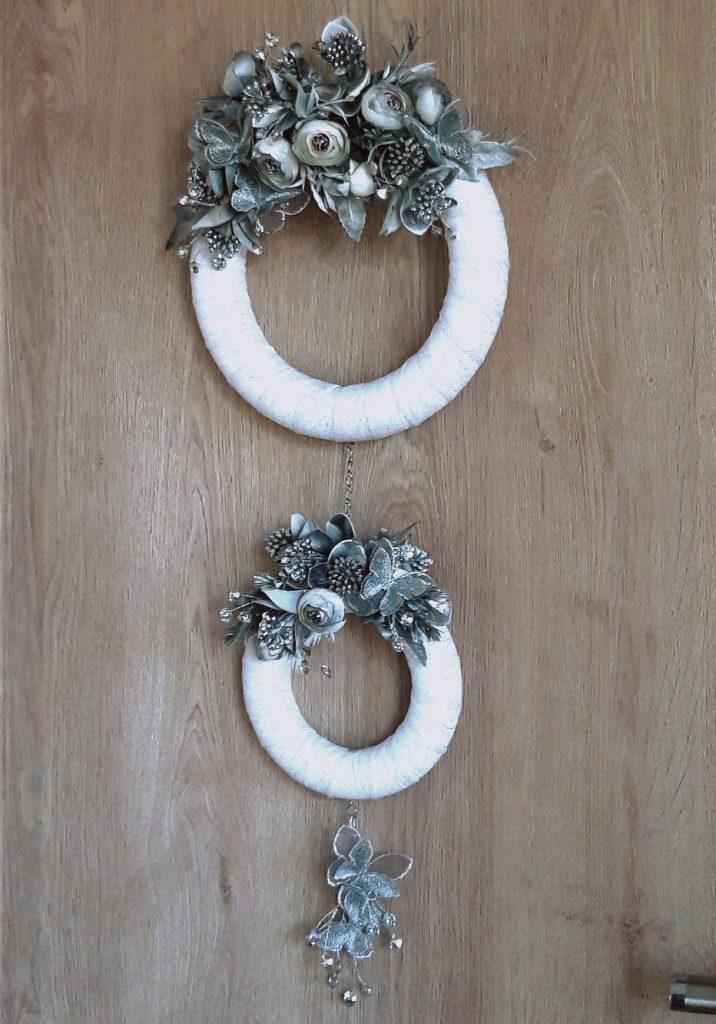 Decor perete 2 coroniţe, alb/argintiu 1