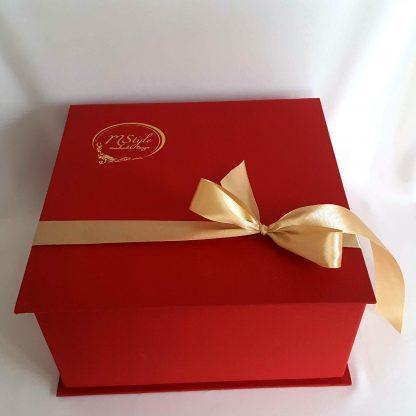Glob sticlă Crăciun roşu cu auriu 10cm