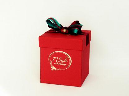Glob sticlă Crăciun roşu cu auriu 10cm cutie