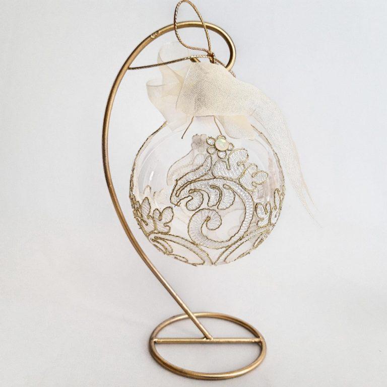 Glob sticlă 10 cm cu dantelă fină