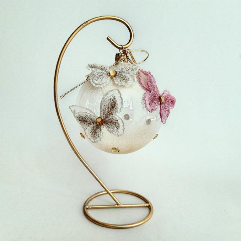 Glob sticlă 10cm Fluturi dantelă stativ