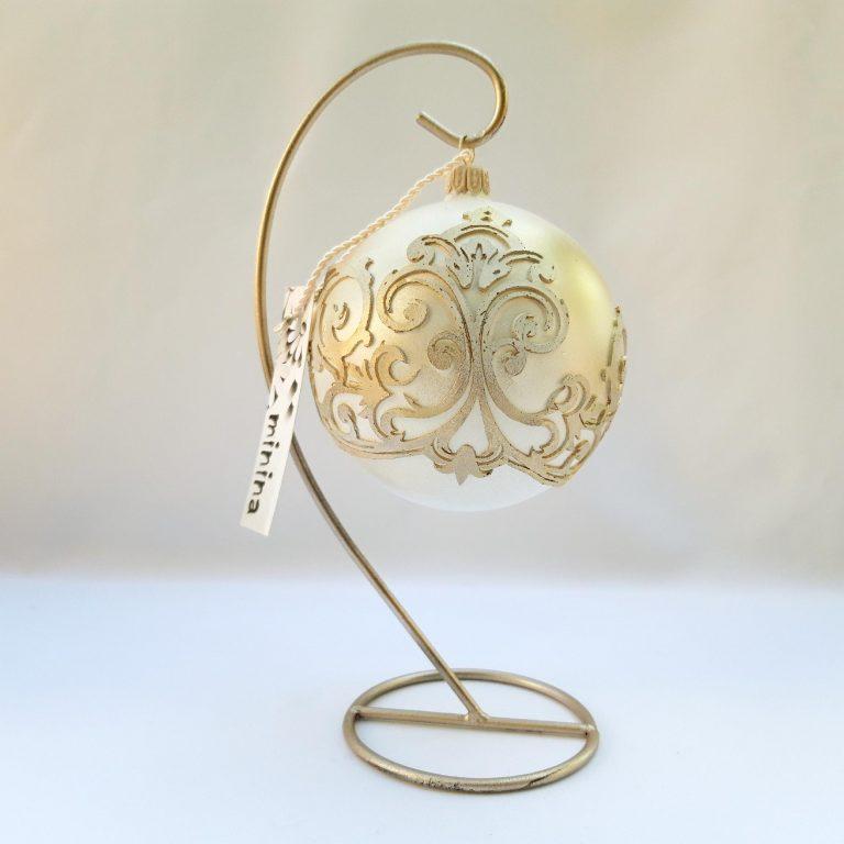 "Glob Crăciun auriu ""Arabesque"" 10 cm"