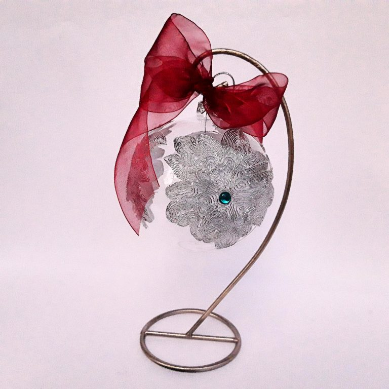 Glob argintiu cu turquoise sticlă 10 cm cu stativ
