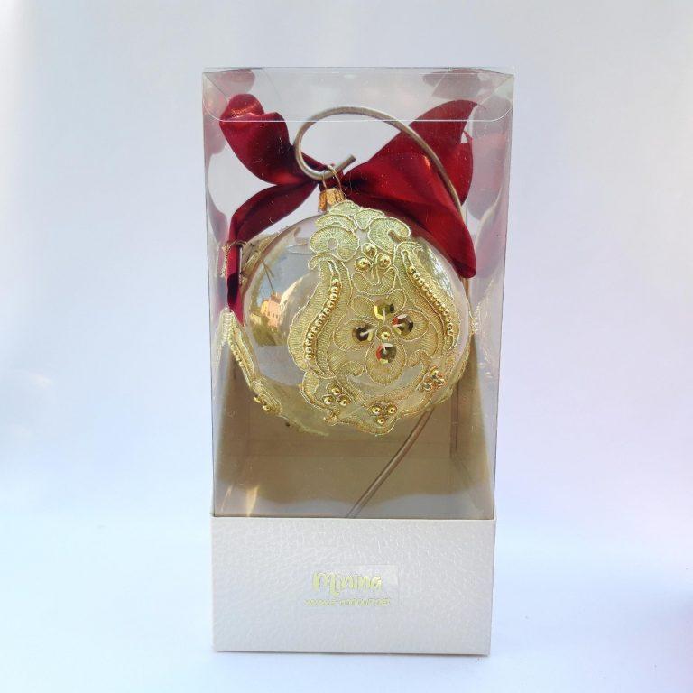 Glob sticla cu dantelă aurie 10 cm