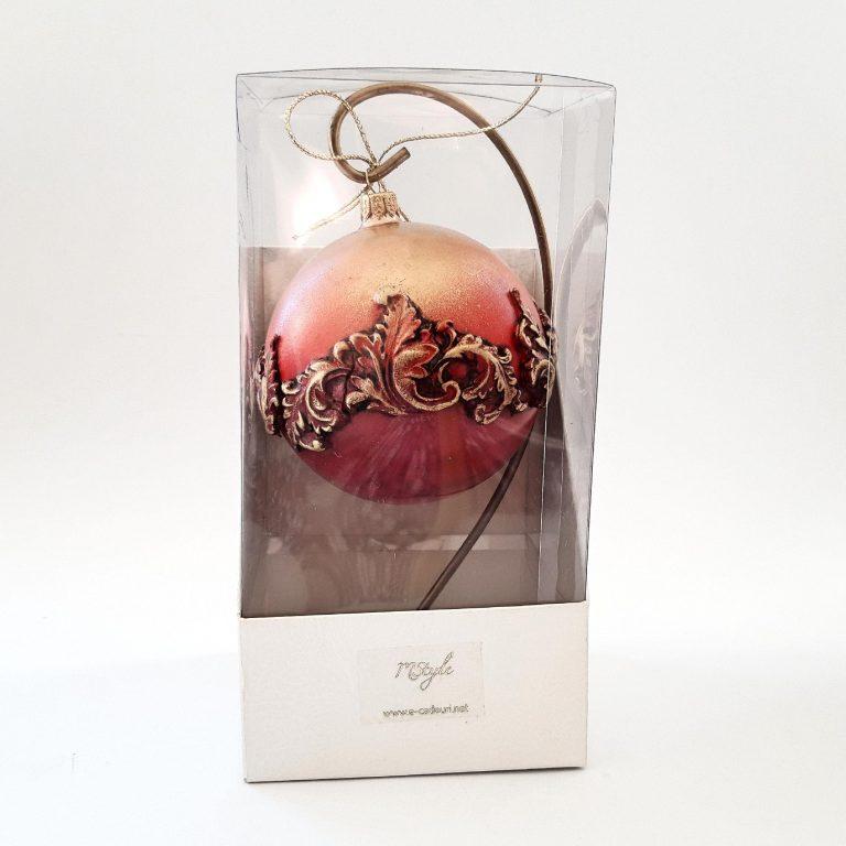 Glob model baroque roșu auriu 10 cm