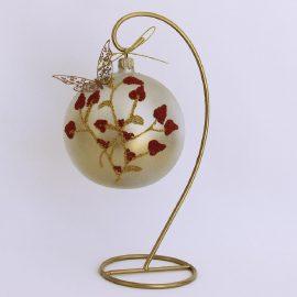 Glob sticlă Crăciun cu Fluture, 10 cm