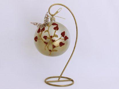 Glob sticlă Crăciun cu Fluture, 10 cm 1