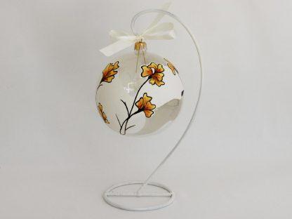 glob craciun alb flori galbene