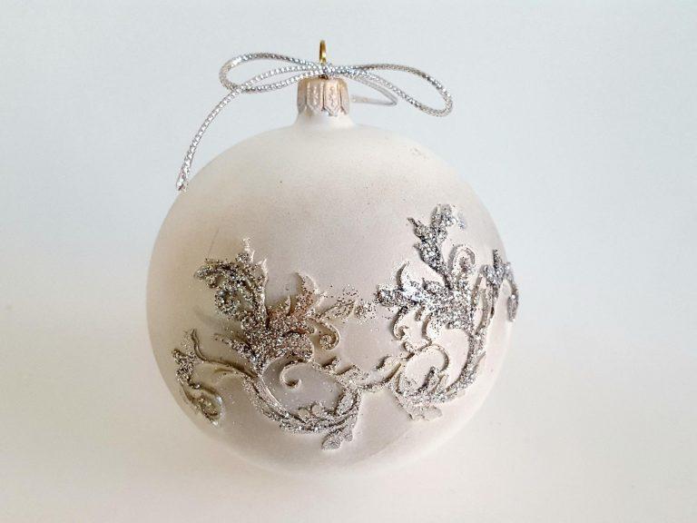"""Glob sticlă Crăciun """"Silver wings"""" 10 cm"""