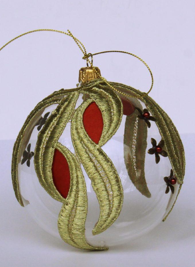 Decorațiuni Crăciun - glob sticlă auriu și roșu 10 cm 2