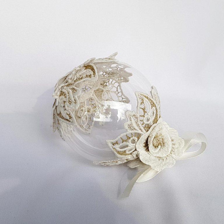 Glob sticlă 10 cm ornament Crăciun flori 3D