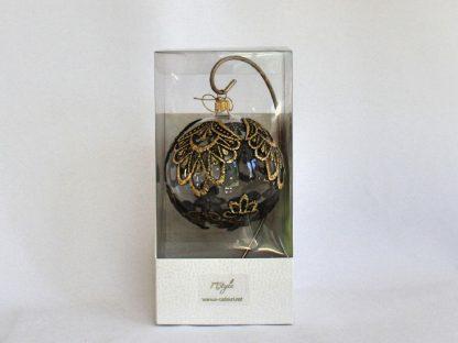 glob craciun dantela negru auriu cutie
