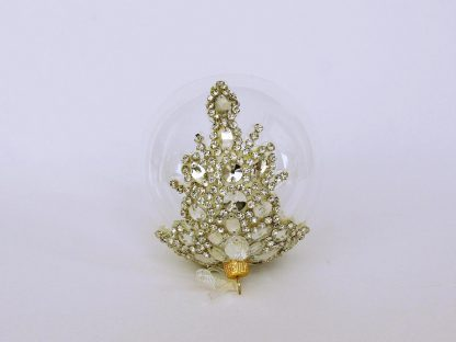Glob sticlă Crăciun cu diadema ştrasuri sticlă
