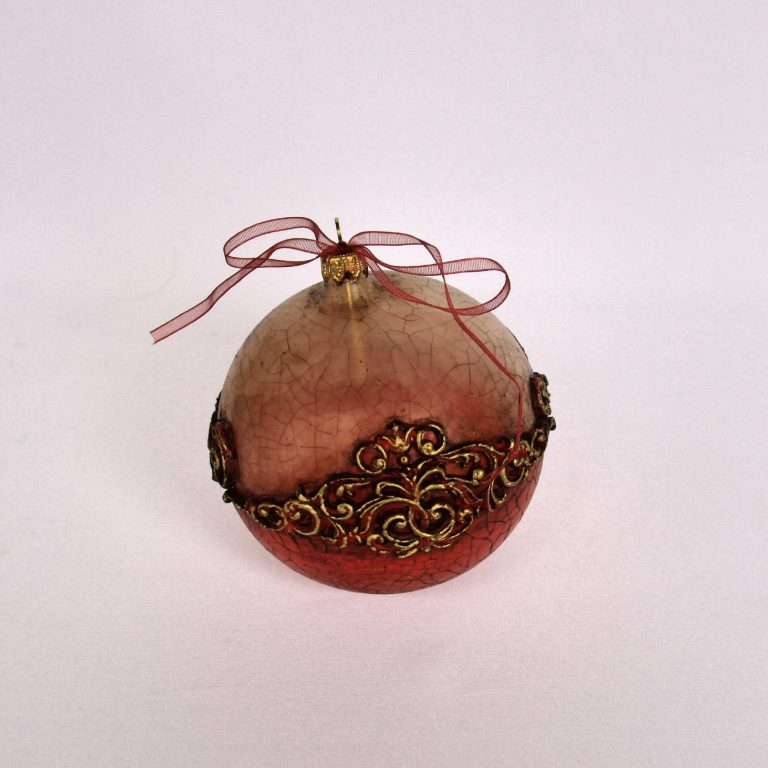 Glob Crăciun model baroque, sticlă 10 cm