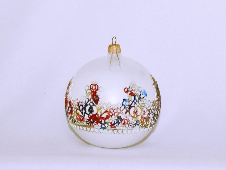 Glob Crăciun sticlă 10 cm alb si culori