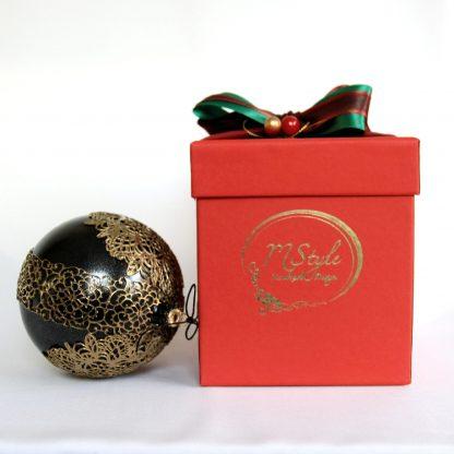 glob craciun negru auriu cutie rosie