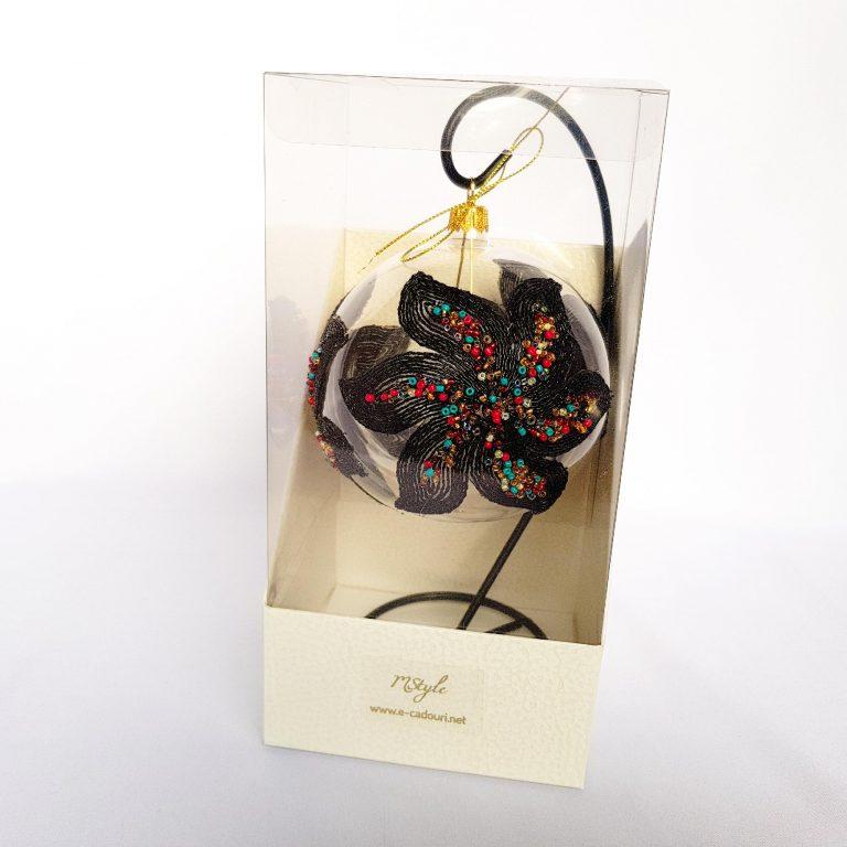 Glob Crăciun cu dantelă neagră, sticlă 10cm 1