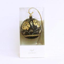 glob craciun negru flori aurii