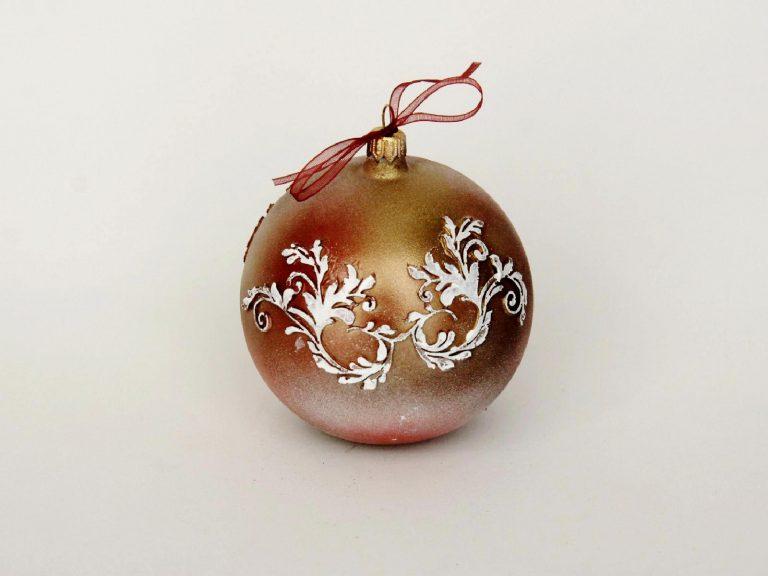 """Glob sticlă Crăciun """"White wings"""" 10 cm"""