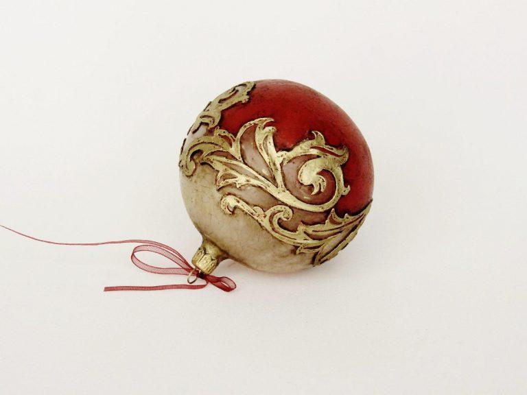 """Glob sticlă Crăciun """"Vintage Red"""" 10 cm."""