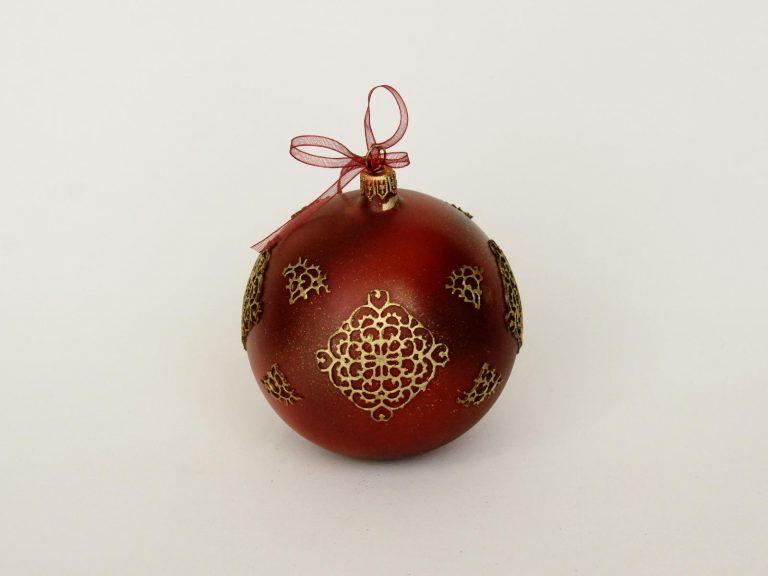 """Glob sticlă Crăciun """"Vintage squares"""" 10 cm"""